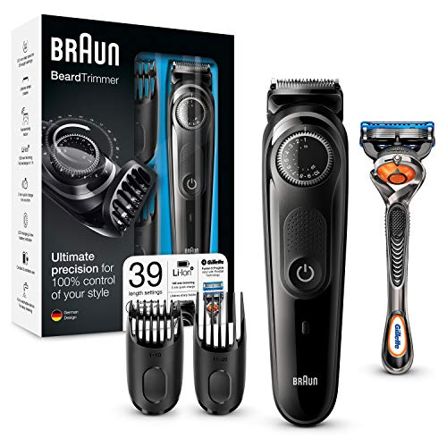 Braun Barttrimmer und Haarschneider BT5042 – Bartpflege Set mit Kammaufsätzen und Gilette ProGlide Rasierer, schwarz/grau